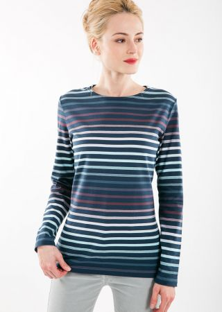 EVIAN T-shirt  col rond à manches longues en jersey rayé avec effet dégradé