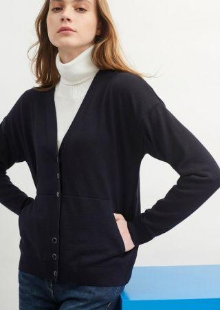 ANGLET Gilet boutonné, en jersey de laine