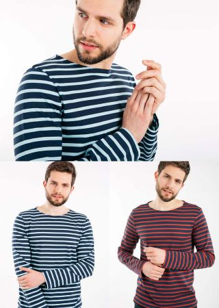 MINQUIERS MODERNE  tee-shirt marin Saint James rayé homme