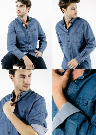 NEW LAMBERT ML Chemise coton DENIM SAINT JAMES